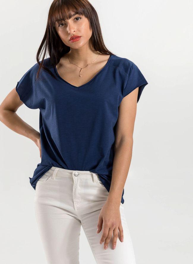 Basic top με λαιμόκοψη  - Μπλε