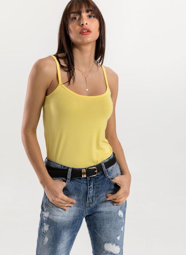 Basic top με ραντάκι - Κίτρινο
