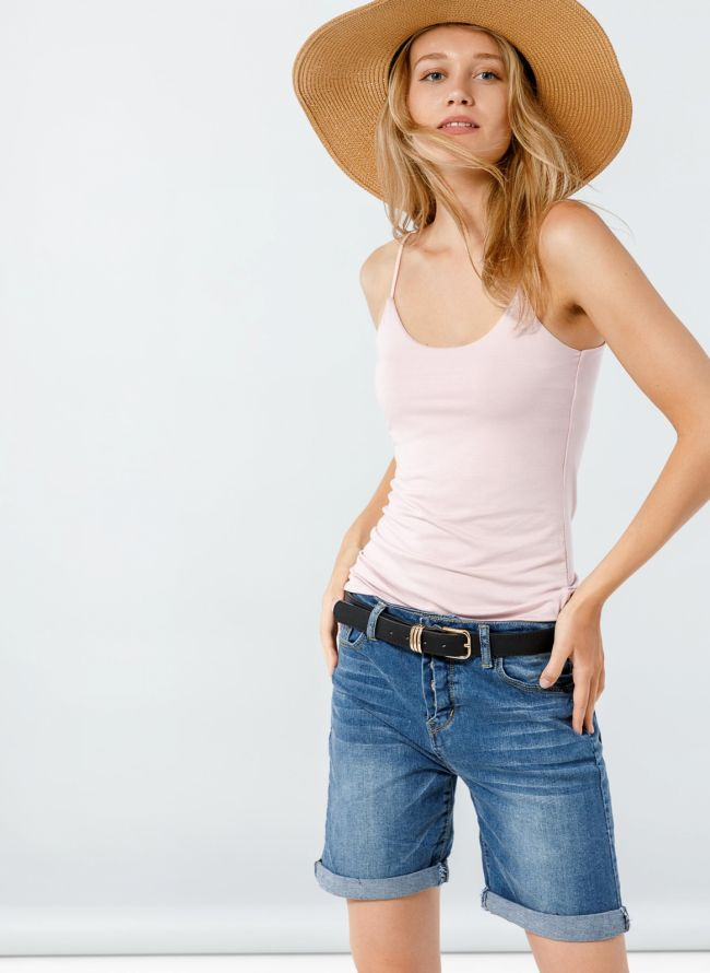 Basic top με ραντάκι  - Nude