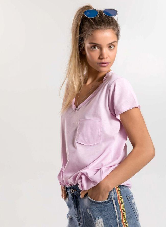 Basic top με τσεπάκι - Ροζ