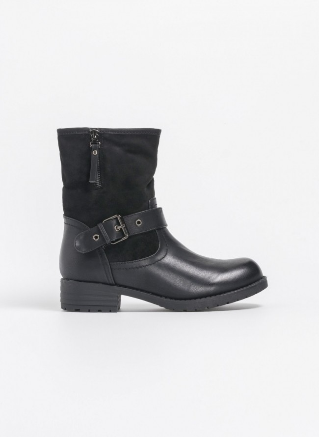 7bf58d1e28 Biker boots σε συνδυασμό υλικών - Μαύρο