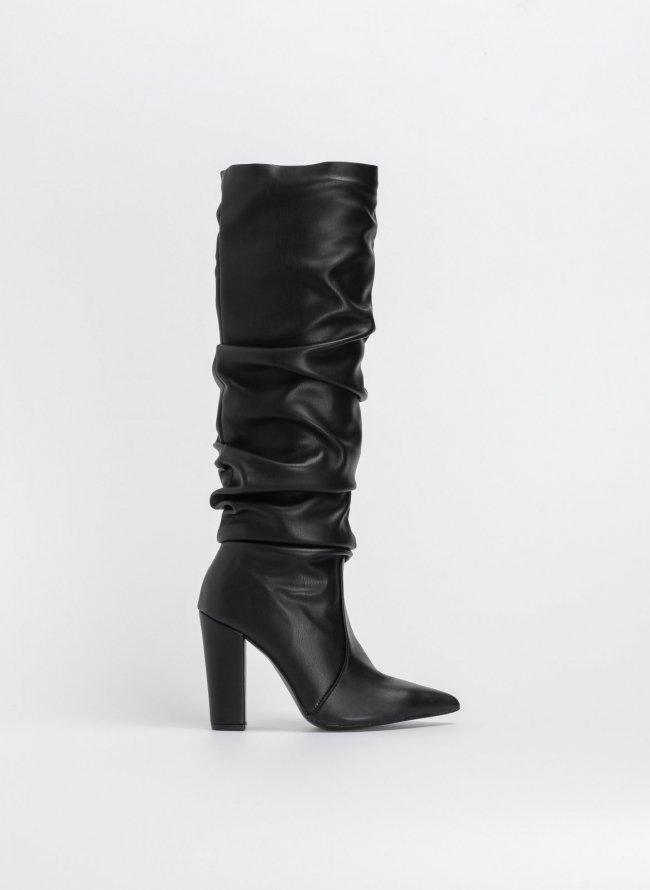 c48fb42d4a Block heel μυτερές μπότες με σούρες - Μαύρο