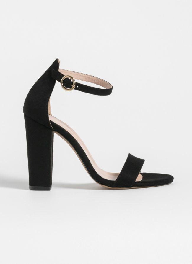 Block heel πέδιλα - Μαύρο