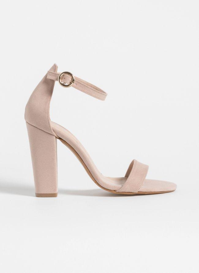 Block heel πέδιλα - Nude