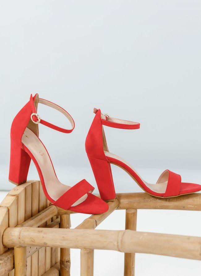 Block heel πέδιλα - Κόκκινο