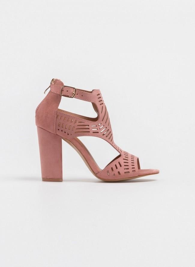 fa285304206 Block heel πέδιλο-μποτάκι με διάτρητο σχέδιο - Ροζ