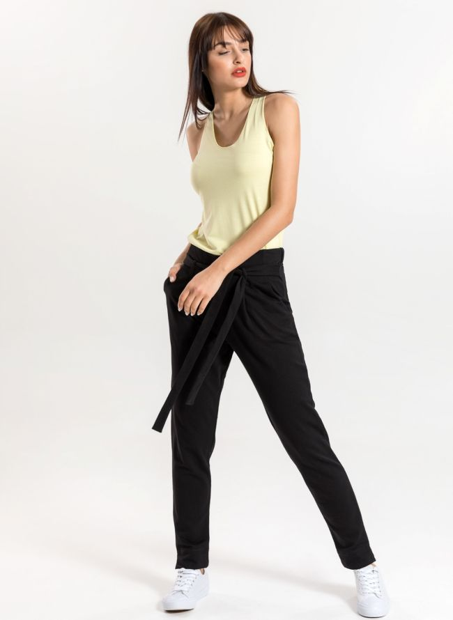 Carrot fit παντελόνι με δέσιμο - Μαύρο