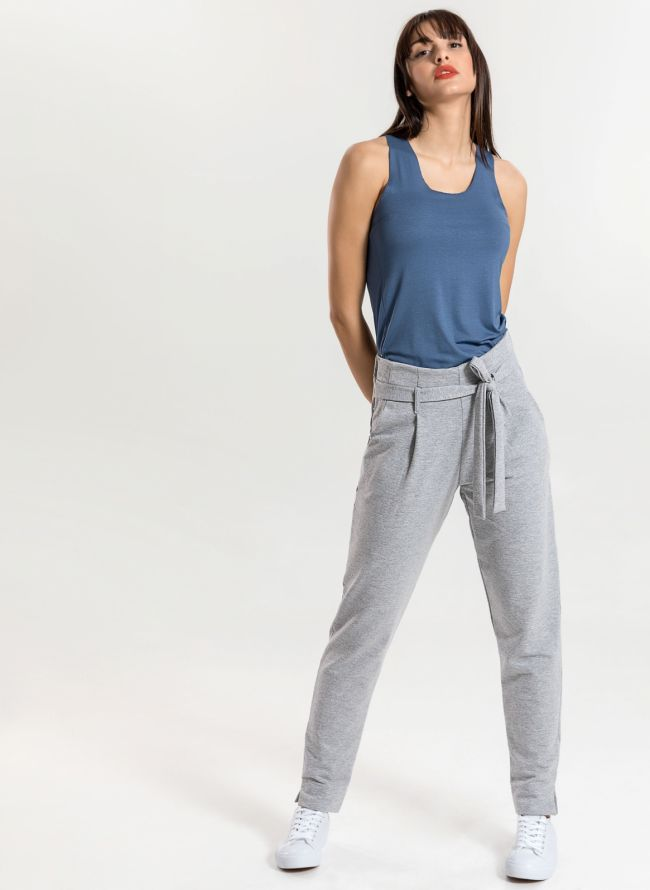 Carrot fit παντελόνι με δέσιμο - Γκρι