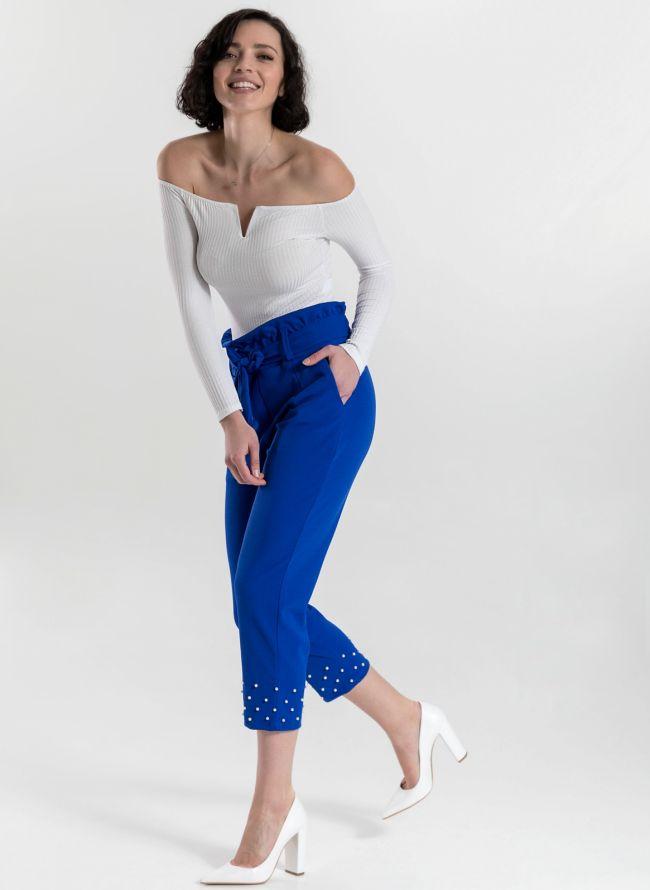 Carrot fit παντελόνι με πέρλες - Ίντιγκο