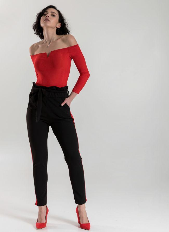 Carrot παντελόνι με ρίγα - Μαύρο