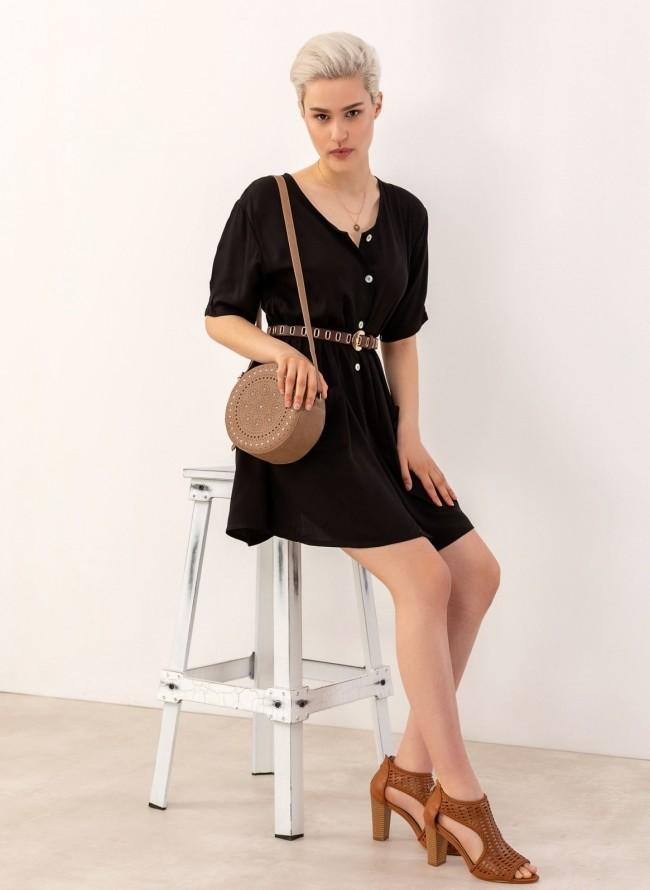 6b3776caa27e Casual φόρεμα με εξωτερικές τσέπες και κουμπιά - Μαύρο