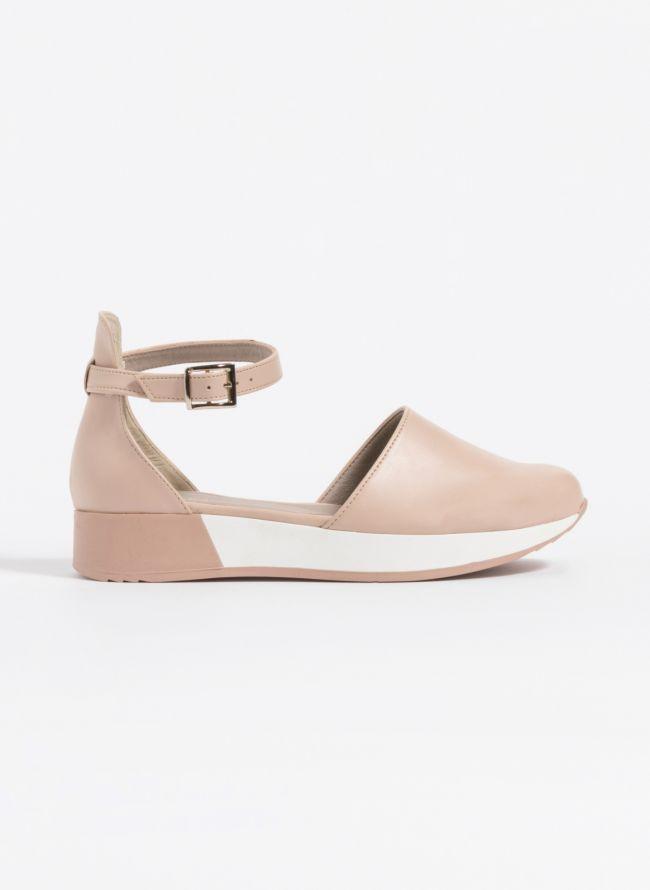 Casual loafers με δέσιμο  - Nude