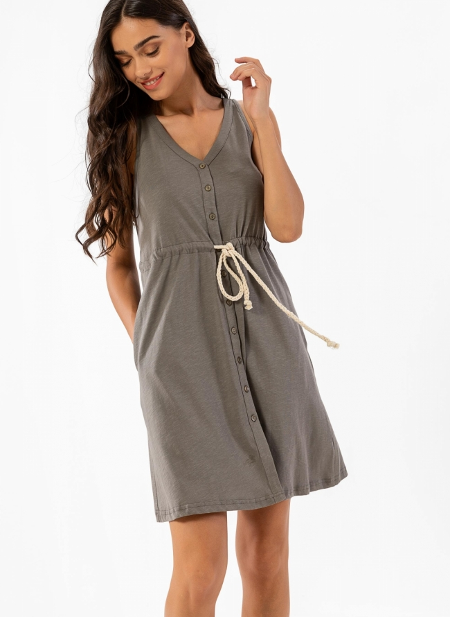 e6300233582 Casual μακό φόρεμα με κουμπάκια και σχοίνινο ζωνάκι - Τάουπε