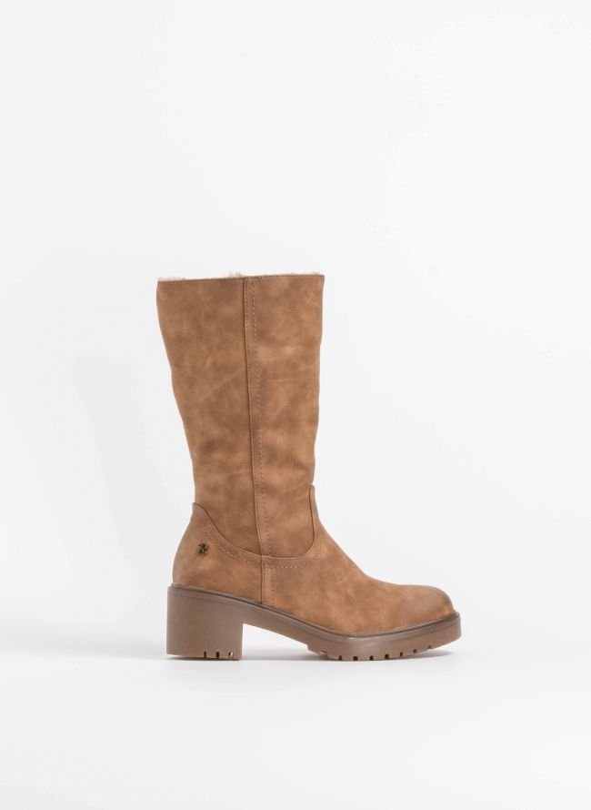 Casual μπότα  με επένδυση από συνθετική γούνα - Κάμελ