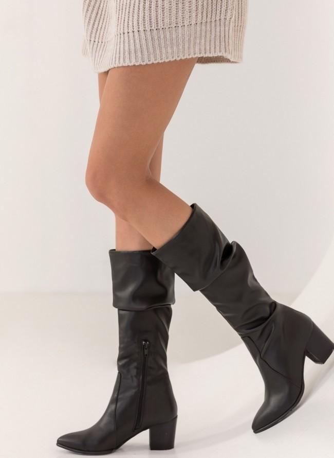 Casual μπότες με τακούνι - Μαύρο ee4c3b91942