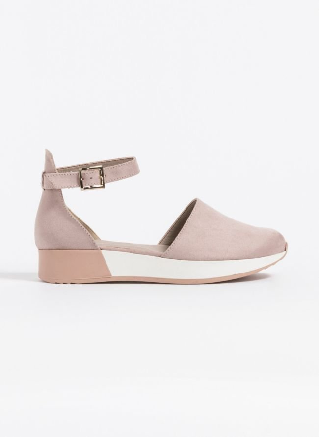 Casual suede loafers με ανοίγματα στο πλάι - Nude