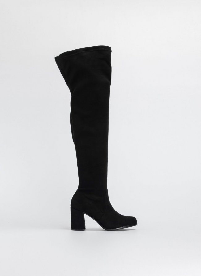 SUEDE ΜΠΟΤΕΣ OVER THE KNEE ΜΕ ΤΡΟΥΚΣ - Μαύρο - TheFashionProject c50f527364d