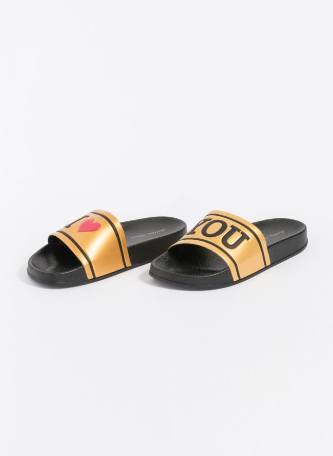 Comfy slides με καρδιά - Χρυσό