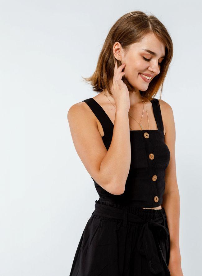 Crop top με ξύλινα κουμπιά και φαρδιά ράντα - Μαύρο