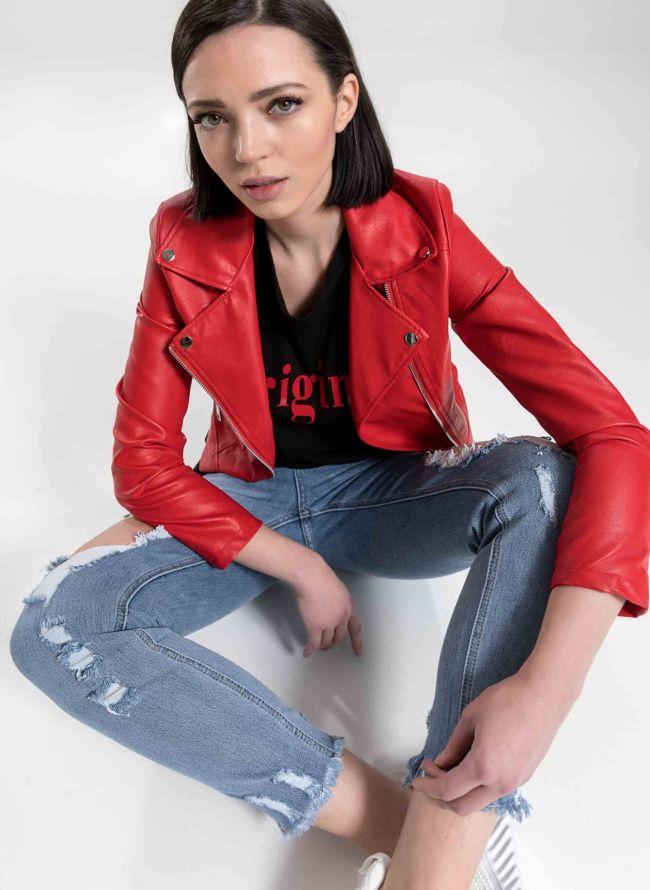 Cropped biker jacket - Κόκκινο