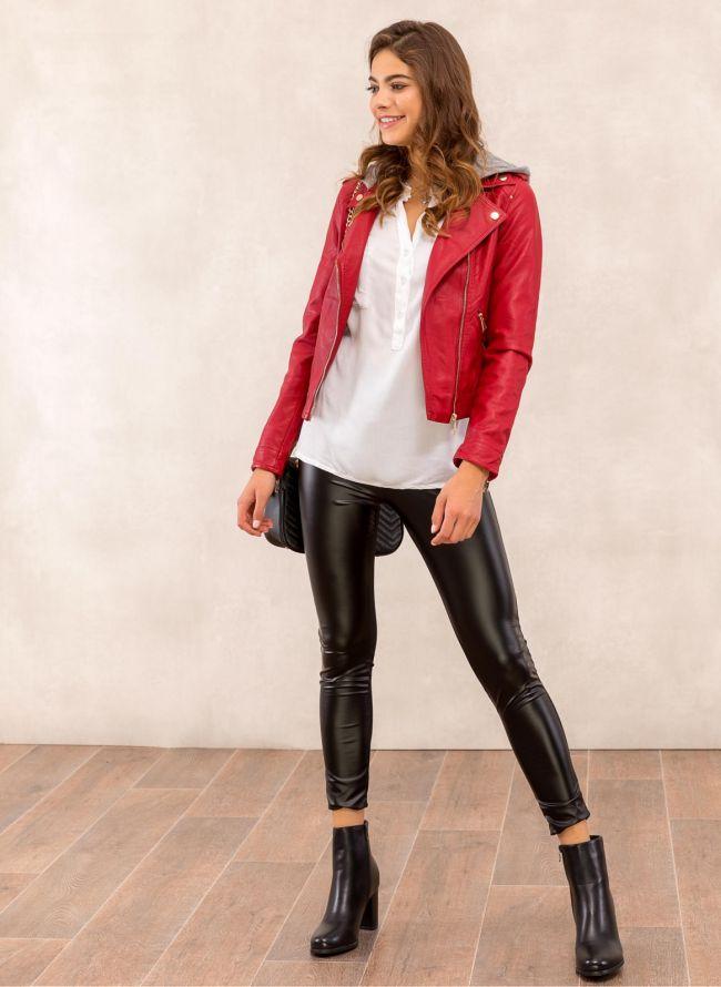 Cropped biker jacket με κουκούλα - Μπορντό