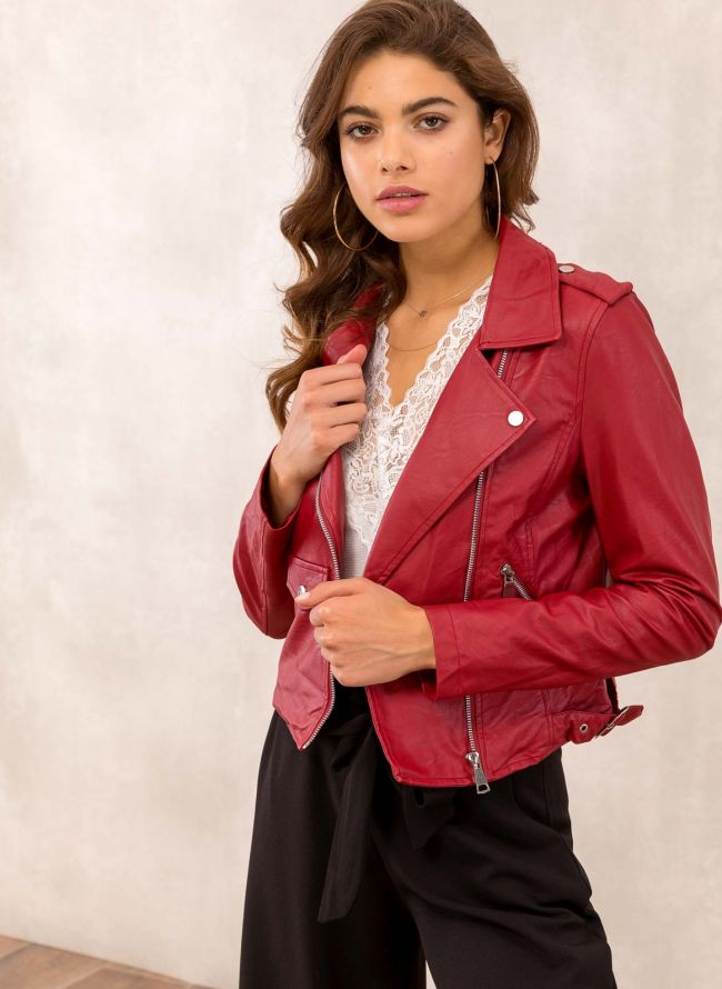 Cropped biker jacket με λοξό φερμουάρ - Μπορντό