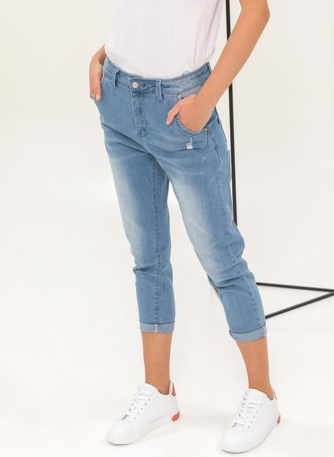 Cropped mom fit jeans - Γαλάζιο - TheFashionProject 568ef23c1c8