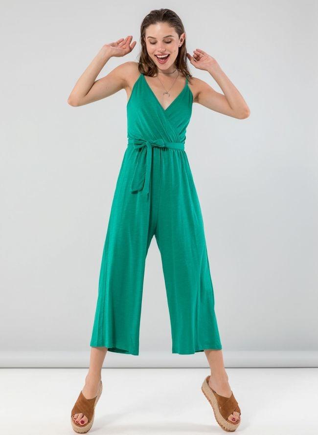 Cropped overall με δέσιμο στην πλάτη - Σμαραγδί