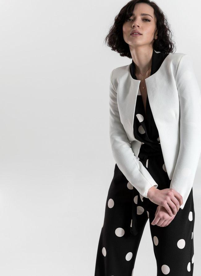 Cropped σακάκι με ανάγλυφη ρίγα - Λευκό