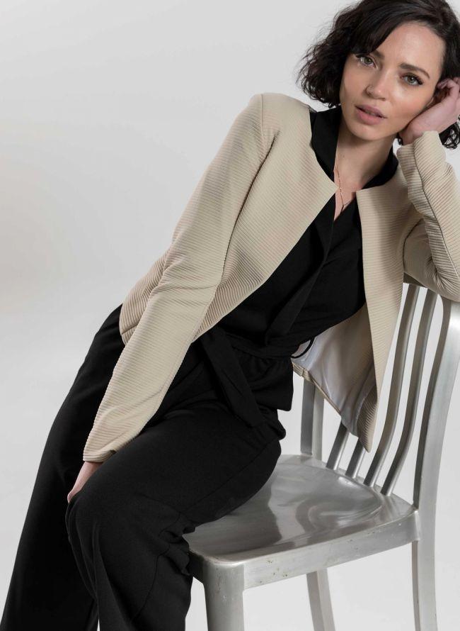 Cropped σακάκι με ανάγλυφη ρίγα - Μπεζ