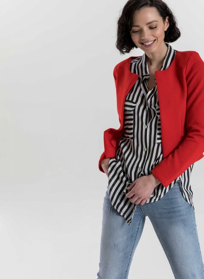 Cropped σακάκι με ανάγλυφη ρίγα - Κόκκινο
