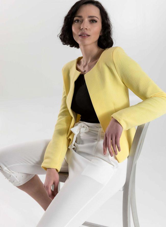 Cropped σακάκι με ανάγλυφη ρίγα - Κίτρινο