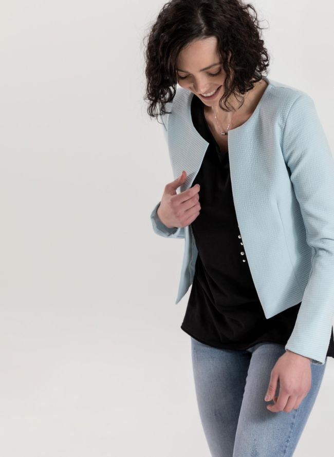 Cropped σακάκι με ανάγλυφη ρίγα - Γαλάζιο