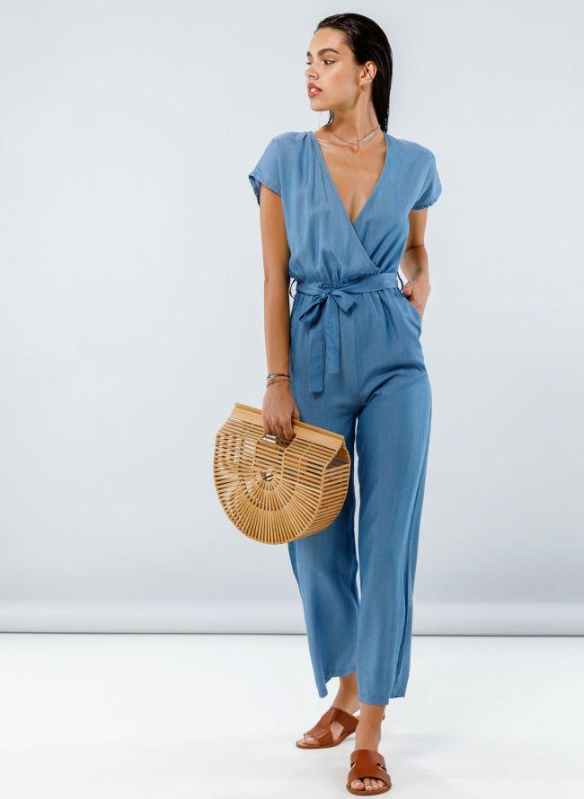 Denim ολόσωμη κρουαζέ φόρμα με ζωνάκι - Μπλε jean