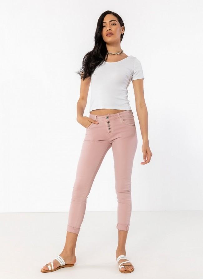 b5b611138e36 Denim παντελόνι με εξωτερικά κουμπιά - Ροζ - TheFashionProject