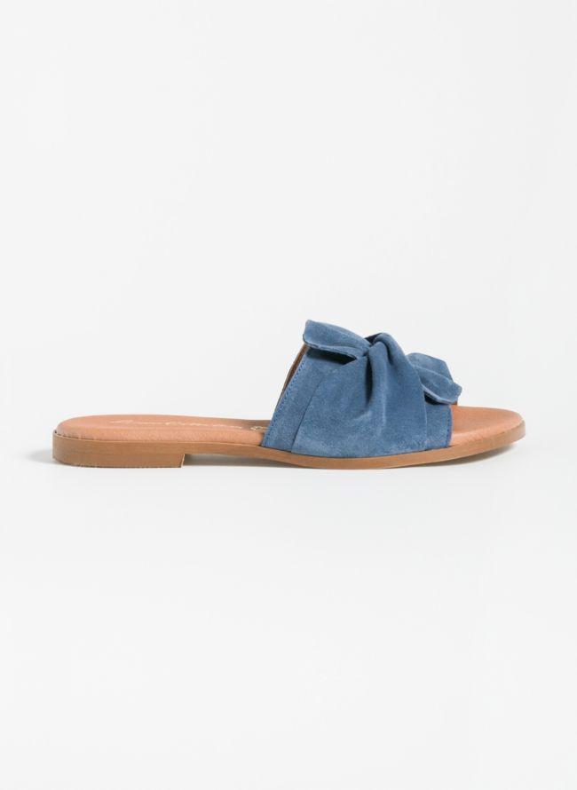 Δερμάτινα χειροποίητα slides με φιόγκο - Μπλε jean