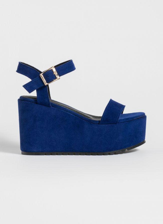 Δερμάτινες πλατφόρμες με ντυμένη σόλα - Μπλε