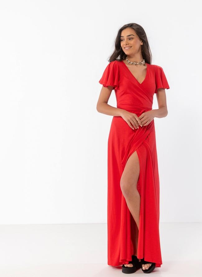 8cccc10a549e Δετό maxi κρουαζέ φόρεμα - Κόκκινο