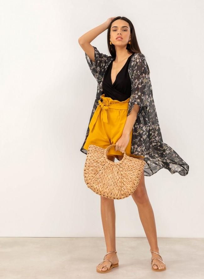 17be2260c344 Φόρεμα κιμονό με λουλούδια - Μαύρο - TheFashionProject