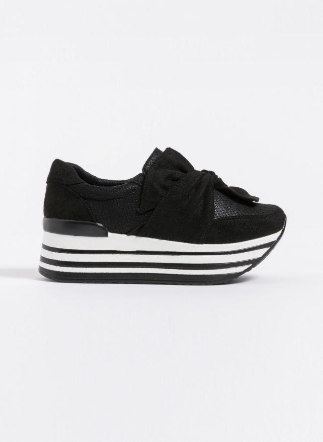 Δίπατα slip-on sneakers με φιόγκο - Μαύρο