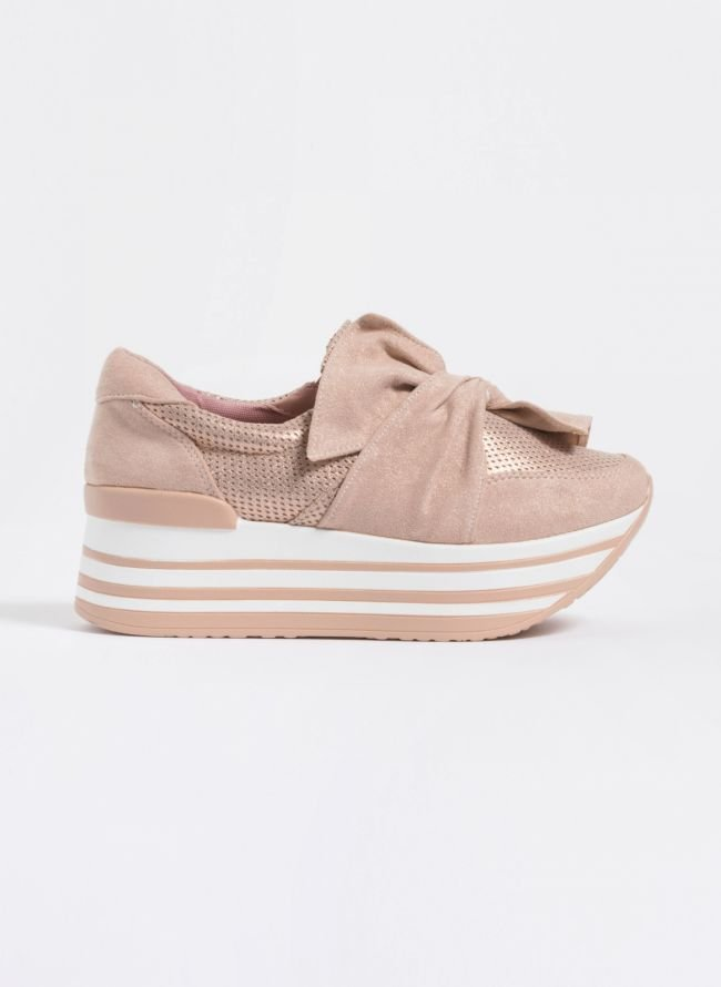 Δίπατα slip-on sneakers με φιόγκο - Nude