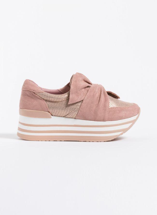 Δίπατα slip-on sneakers με φιόγκο - Ροζ
