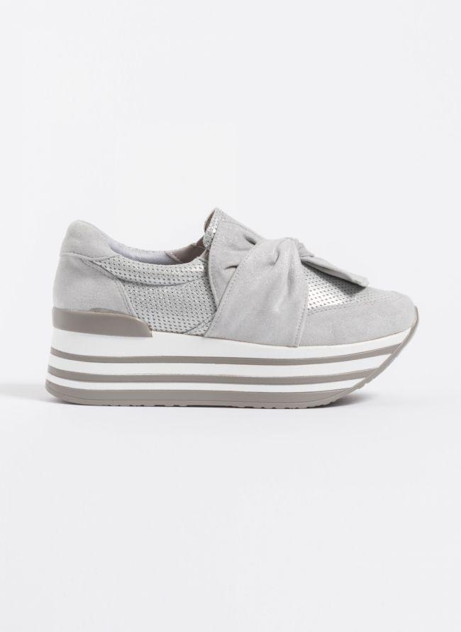 Δίπατα slip-on sneakers με φιόγκο - Γκρι