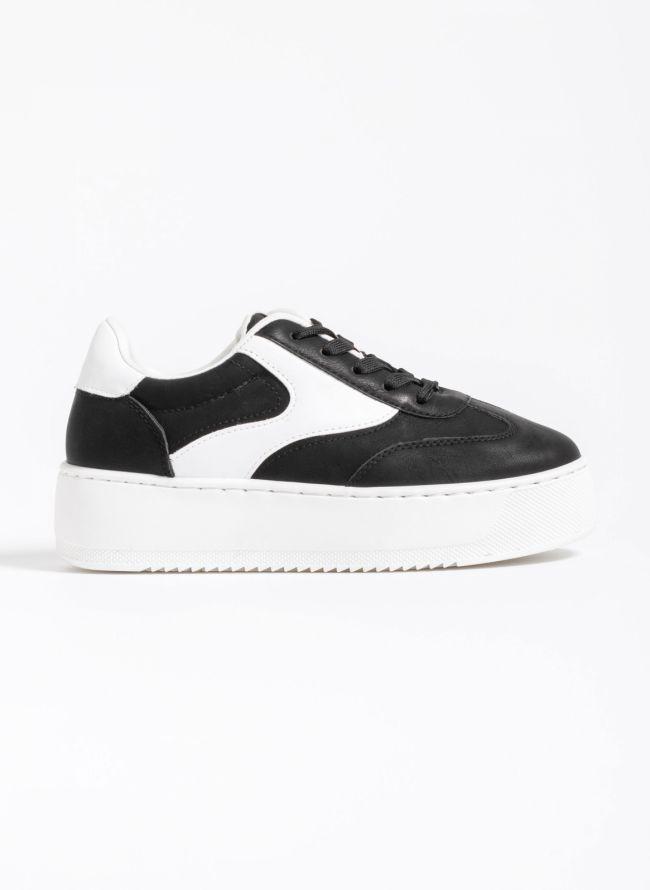 Δίχρωμα flatform sneakers - Μαύρο