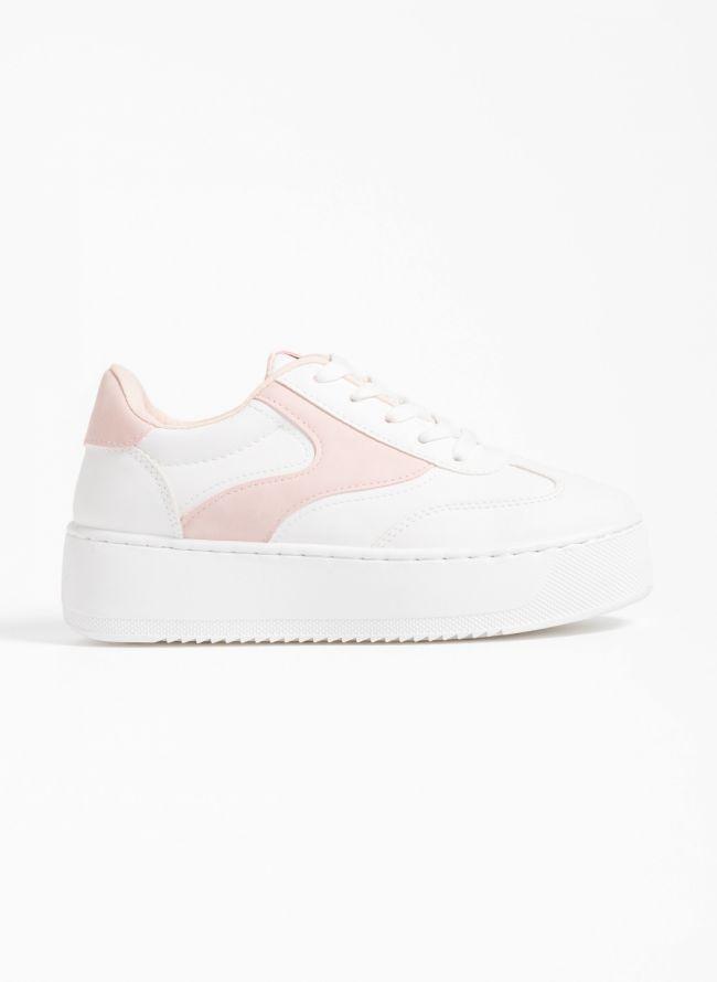 Δίχρωμα flatform sneakers - Λευκό/Ροζ