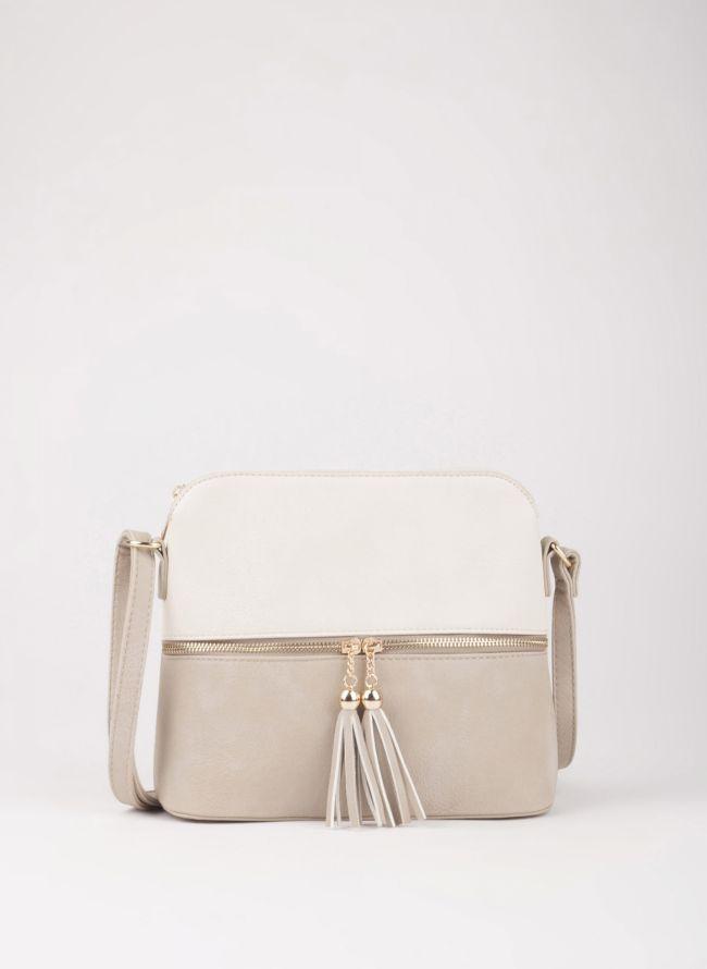 Δίχρωμη χιαστί τσάντα - Μπεζ