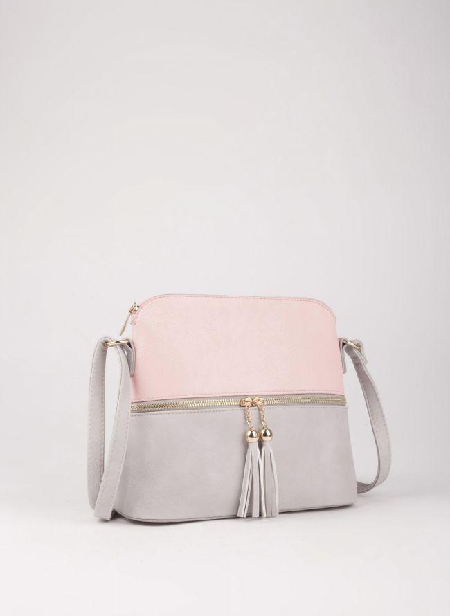 Δίχρωμη χιαστί τσάντα - Γκρι