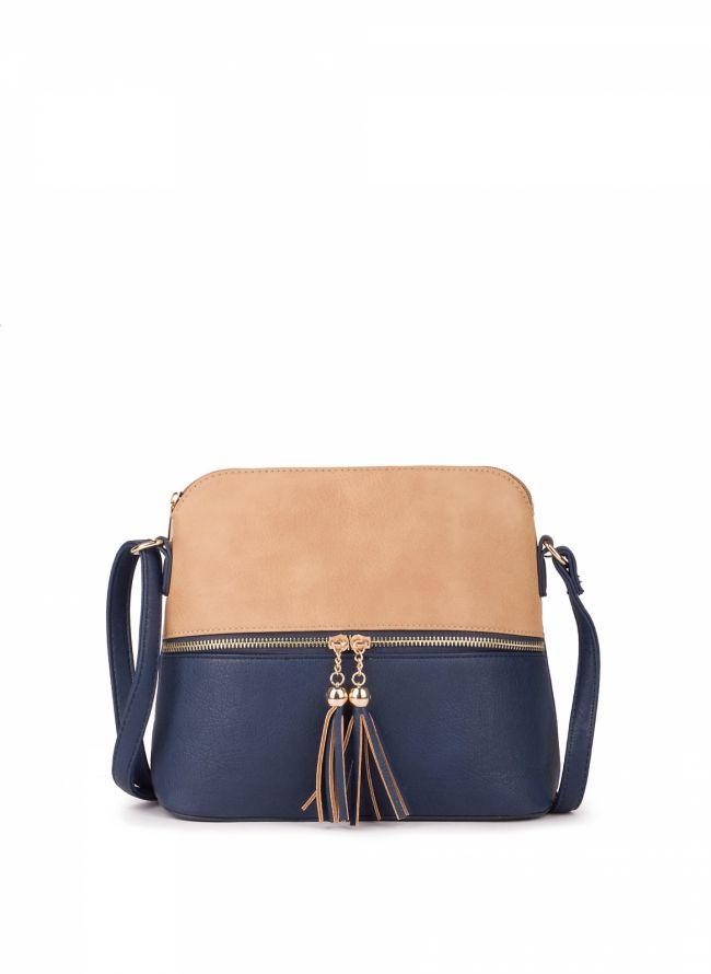 Δίχρωμη χιαστί τσάντα - Μπλε