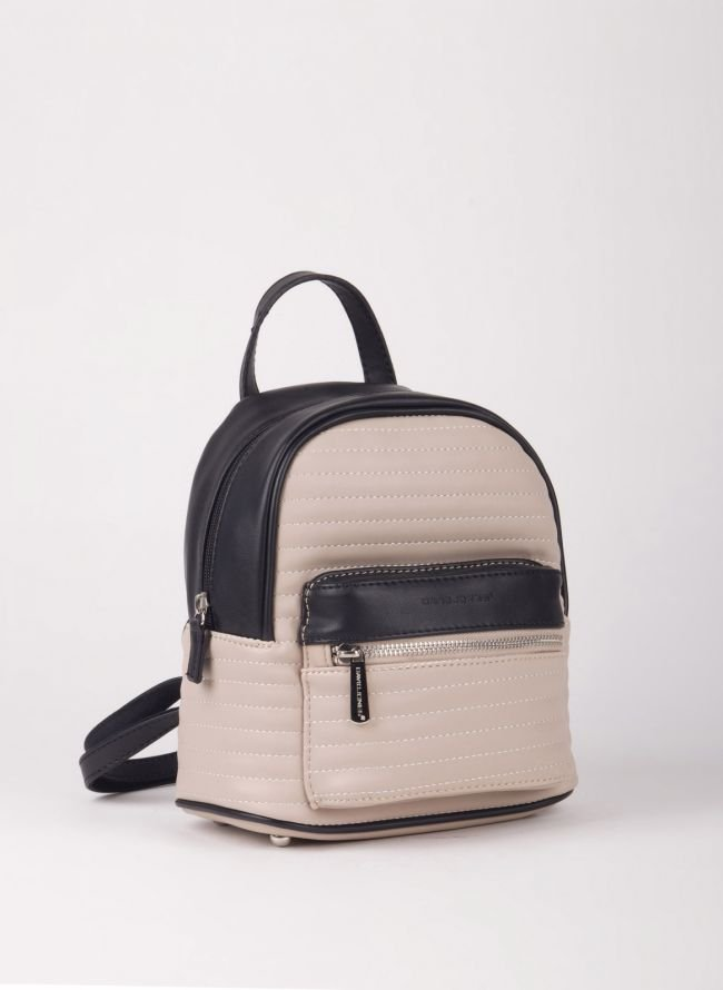 Δίχρωμο mini backpack David Jones - Μπεζ