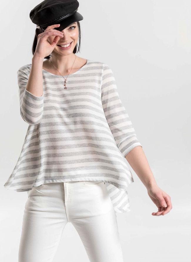 Ελαφριά πλεκτή μπλούζα με ρίγες - Γκρι